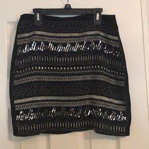 Black beaded pencil skirt